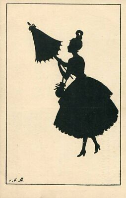 FANCY BEAUTY WITH UMBRELLA FINE OLD SILHOUETTE postcard