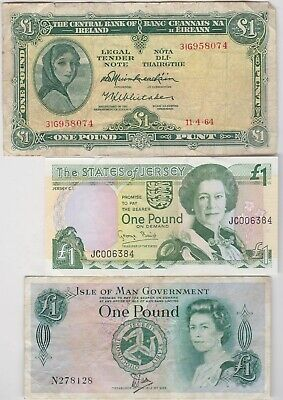 Three £1 Banknotes Ireland, Isle Of Man & Jersey In A Used Condition
