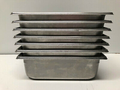 "Lot 8 Restaurant Equipment 1/4th Stainless Steel Steam Table Pan 4"" Deep"