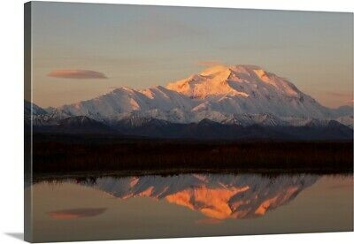 """Alpenglow On Mt. McKinley Reflected In Tundra Pond At Sunrise"" Canvas Art Print"