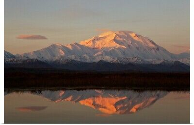 """Alpenglow On Mt. McKinley Reflected In Tundra Pond At Sunrise"" Poster Print"