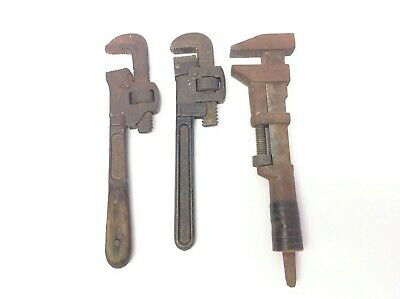 Vintage Lot 3 Used Plumbing Tools Monkey Steam Fitting Pipe Wrenches Stillson