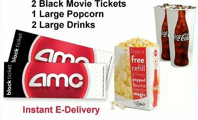 2 Black Movie Tickets 1 Large Popcorn 2 Drinks AMC Theaters. Email Delivery
