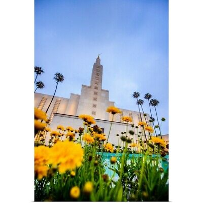"""""""Los Angeles California Temple with Flowers, Los Angeles, California"""" Poster"""