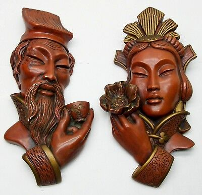1958 Universal Statuary Chicago Corp Asian Chalkware Red Face Head Wall Hanging