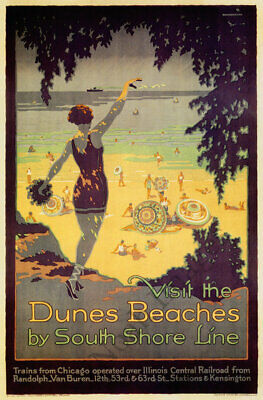 Duneland Beaches by South Shore Line vintage train travel poster repro 12x18