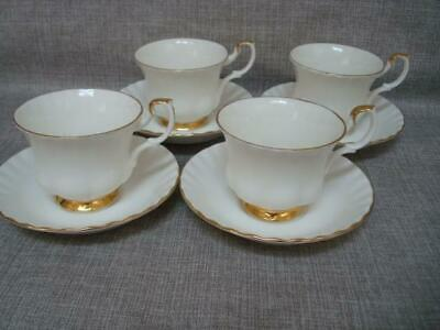 ROYAL ALBERT VAL D'OR  CUPS & SAUCERS x 4  - 1st QUALITY - EXCELLENT