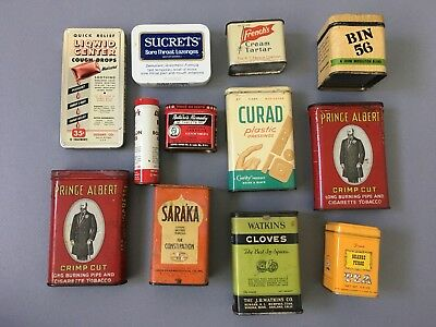 Lot 12 Vintage Rare Tins Spices, Medicine