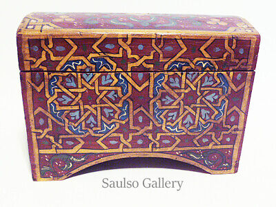 Wonderful antique Folk Art hand-painted wooden box from estate collection