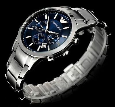 NEW Emporio Armani AR2448 Mens Classic Stainless Steel Blue Chronograph Watch