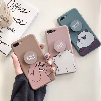For iPhone X XS Max 7 8+ Cute cartoon We Bare Bears Airbag Stand soft phone case