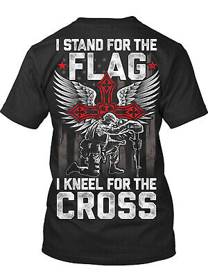 I Stand for the Flag I Kneel for the Cross New Men's T-Shirt, Patriotic Military