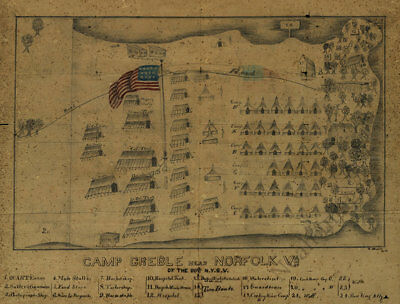 View of Camp Greble - Norfolk Virginia c1862 map 16x12