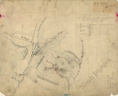 Sketch of the battle of McDowell Virginia c1862 map 14x12