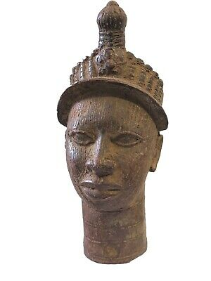 "Superb Benin Bronze Brass Head of King Oba  Nigeria African 10"" H"