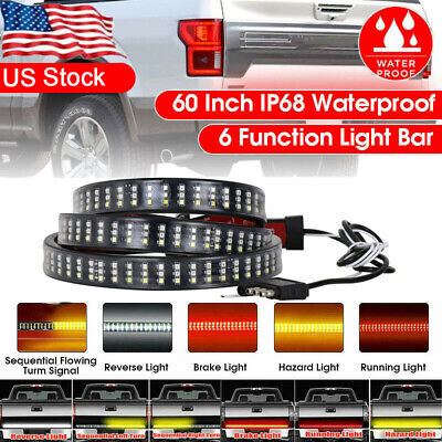 "6 Modes 60"" 432LED Truck Strip Tailgate Light Bar 3Row Reverse Brake Signal Tail"