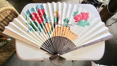 """Large Oriental Vintage Hand Painted Chinese Fan Decorative Wall Hanging Art 32"""""""