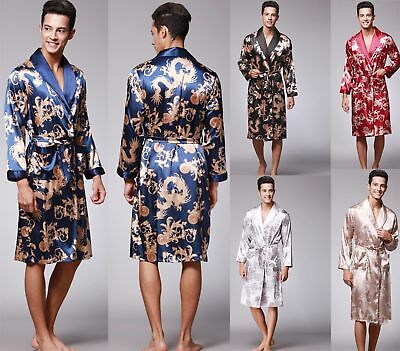 Mens Satin Silk Pajamas Kimono Bathrobe Robe Dressing Gown Sleepwear Loungewear