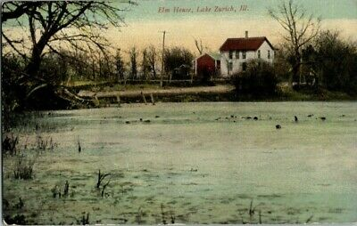 EARLY 1900'S. ELM HOUSE. LAKE ZURICH, ILL. POSTCARD v4