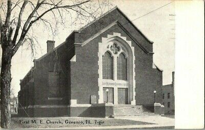EARLY 1900'S. FIRST M.E. CHURCH. GENESEO, ILL. POSTCARD v10
