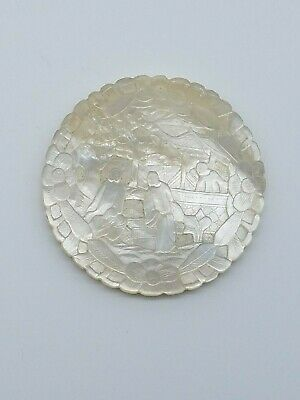 Rare hand carved 1800 mother of pearl chinese casino gaming chip