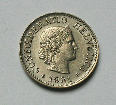 1931B SWITZERLAND Swiss Coin - 10 Rappen - toned-lustre