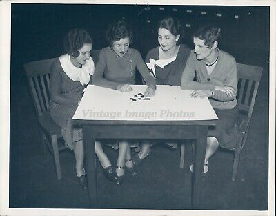 1933 Photo Beautiful Young Girls Table Chairs Game Smiles Rare Antique