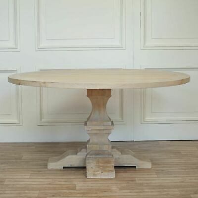 Recycled Round Solid Wood Dining Table Antique Style Pedestal Dining Room