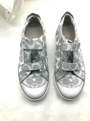 Coach Britt Womens Ladies silver gray logo tennis shoes sneakers loafers 10M 41