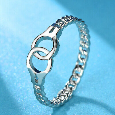 Exquisite Handcuffs Link Chain Wedding Ring 925Silver Fashion Jewelry Party Gift