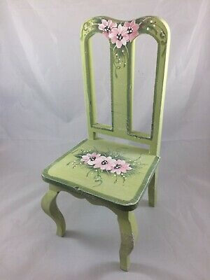 Doll Chair Painted Signed 12 in High Milson Louis Chalk Green Pink Floral NICE