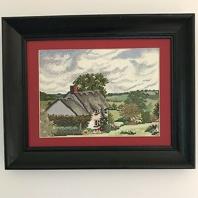 Completed Cross Stitch English Cottage with Garden and Landscape - Nicely Framed