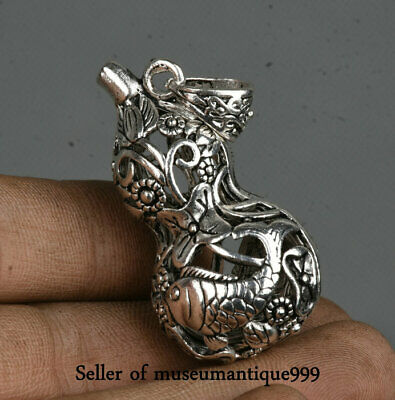 4.5CM Old Chinese Miao Silver Dynasty hollow out Fish Gourd Statue Pendant