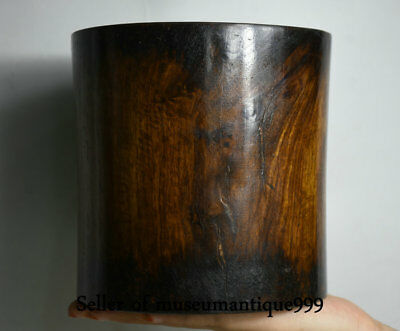 """6"""" Collect Old Chinese Huanghuali Wood Dynasty Carving Brush Pot Pencil Vase"""