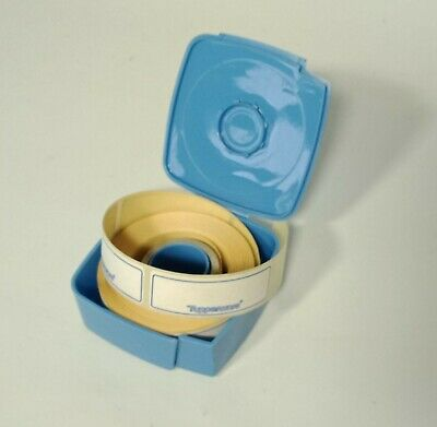 VINTAGE Tupperware Label Dispenser Container with Roll Food Storage Labels Blue