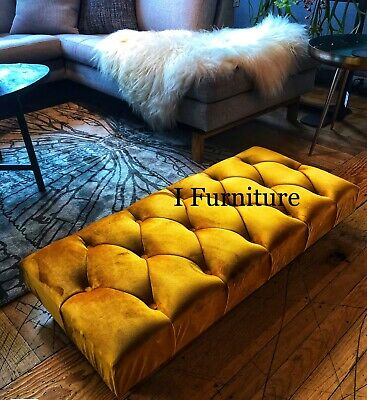 * BRAND NEW!  Bench, footstool, seat, velvet upholstered ottoman with legs UK