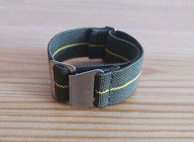 Army Green Elastic Nylon Watch Strap with Yellow Stripe, Military Watch Strap