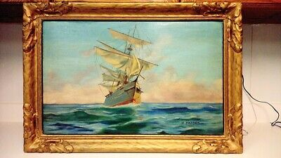 Antique signed original ship oil painting