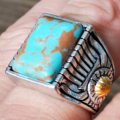 Handmade Silver Plated Turquoise Ring Women Men Vintage Jewelry Sz6-12