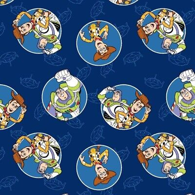 Disney Toy Story Buzz Woody Badges Toss Cotton Fabric Pixar Film FQ Blue
