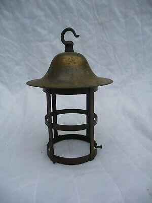 Antique 1930s/40s Copper/Brass Open Porch Lantern Pendent light Fitting Project