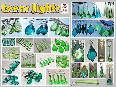 Chandelier Antique Green Glass Crystals Drops Beads Droplets Light Parts Prisms