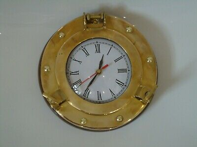 Brass Ships Port Hole Clock Metal A Very Nice Looking Nautical Item