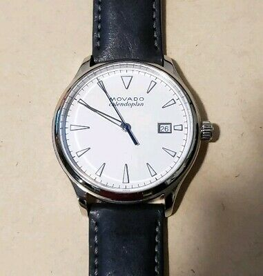 Movado Heritage 3650002 Watch With 40mm White Face & Black Leather Band
