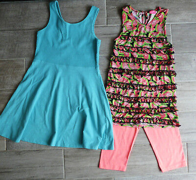 NEXT girls aqua jersey dress frill  print tunic leggings set  bundle 9 years