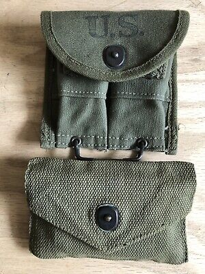 U.S. WW2 Pistol Belt Cartridge Pouch And Bandage Kit With Pouch and End Caps