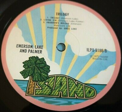 ELP Emerson Lake & Palmer LP Trilogy UK Pink island rim 1st press A-2U B-2U
