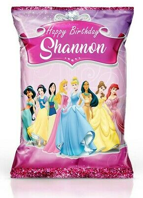 PERSONALISED Princess Crisp Packets / Popcorn / Sweet Party Bag Favours