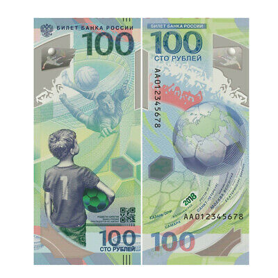 Russia 100 Rubles 2018 P-New Polymer FIFA World Cup Banknotes UNC