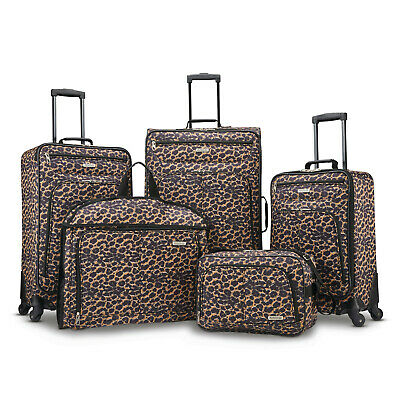 5 Piece Travel Spinner Luggage Set Bag ABS Trolley Carry On Suitcase Leopard